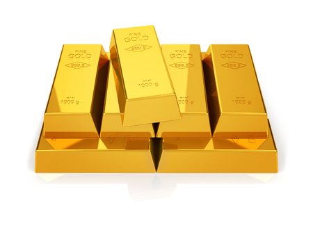 gold standard: gold bars stacked in a pyramid