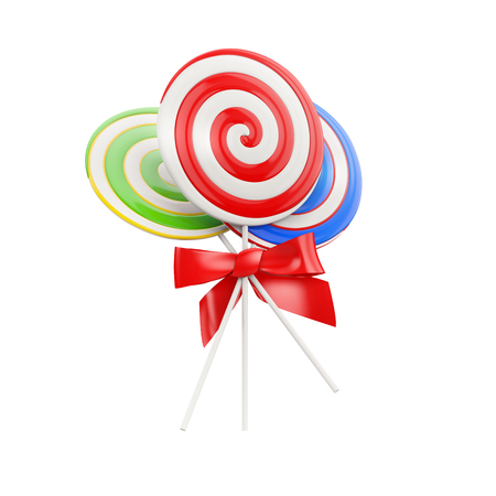 taffy: lollipops with a red bow isolated on a white background