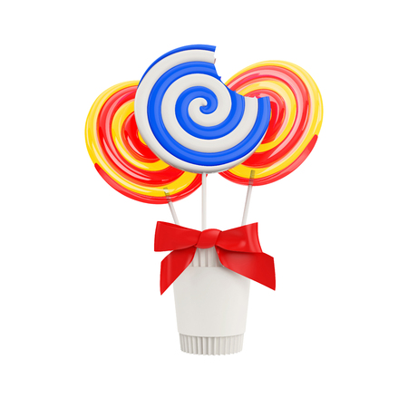 taffy: lollipops with a red bow in a paper cup isolated on a white background Stock Photo