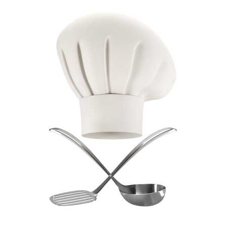 cooking utensils: white chef hat with soup ladle and spatula isolated on white background