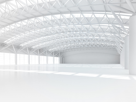 warehouses: Abstract empty white warehouse interior