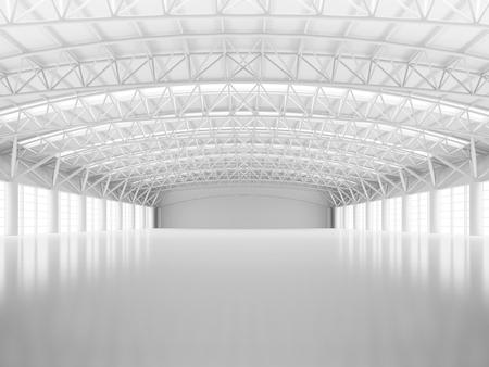 抽象的な空白い倉庫の内部 写真素材