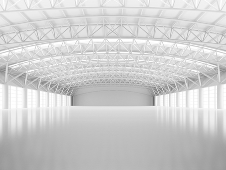 Abstract empty white warehouse interior