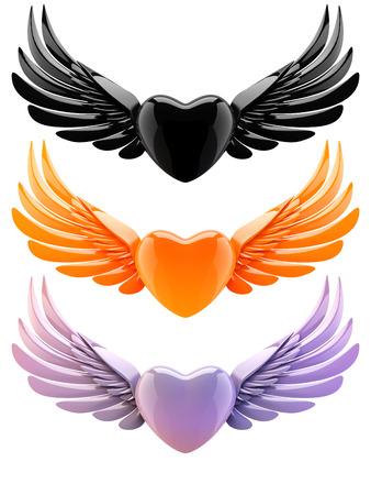 amarillo y negro: conjunto de corazones con las alas