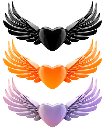 nacre: set of hearts with wings