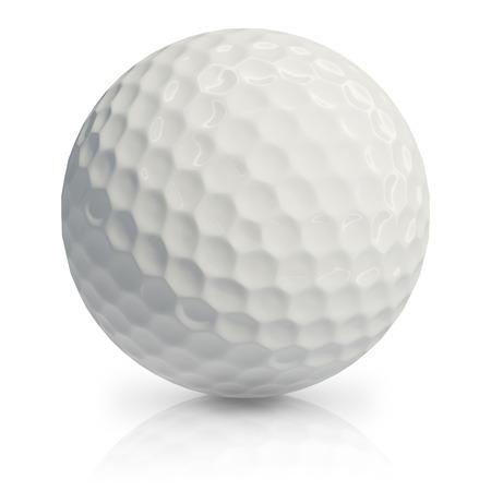 Golfbal op een witte achtergrond.