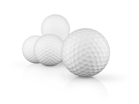glossiness: Group of golf balls on white background. 3D render