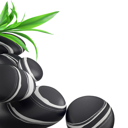 zen stones: Spa concept with black zen stones and leaf bamboo on white background. Stock Photo