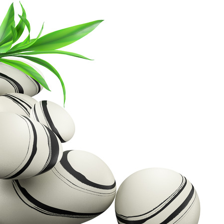 zen stones: Spa concept with white zen stones and leaf bamboo on white background.