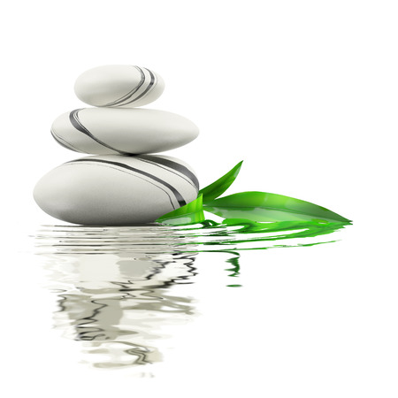 Spa stones and bamboo leaf in waters on white background.