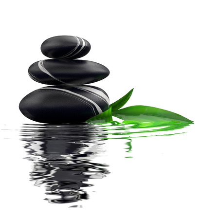 zen stones: Spa stones and bamboo leaf in waters on white background.