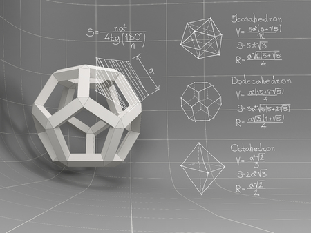 volume: 3D geometric object with white geometric shapes and equations on the gray board Stock Photo