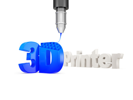 3d printer lettering with fragment of the machine, isolated on a white background