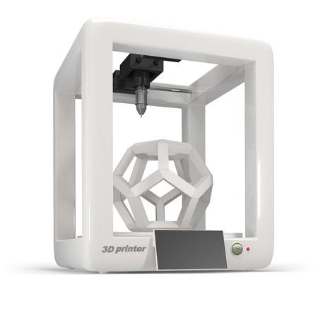 prototipo: concepto, 3d impresora en un fondo blanco