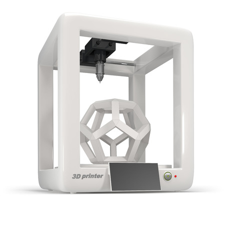 concept, 3d printer on a white background Standard-Bild