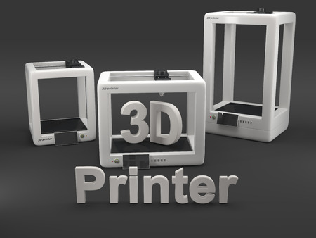 printers: three 3D printers on grey background