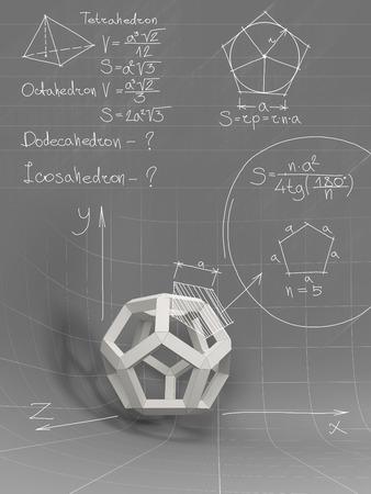 alumnos en clase: formas geométricas en blanco y ecuaciones en la pizarra gris