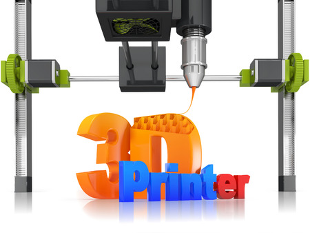 prototyping: 3d printer lettering with fragment of the machine on a white background