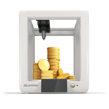 imprenta: Impresora 3d con la pila de monedas de oro aislado en un fondo blanco