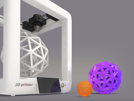 office products: 3d printer with geometric object on a gray background