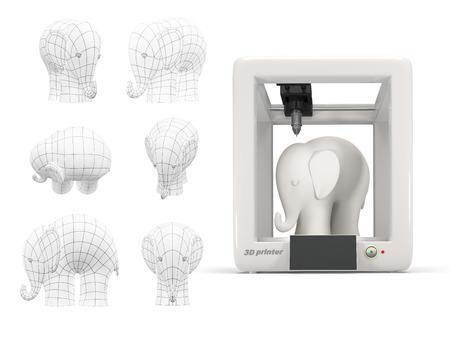 prototipo: Impresión de la impresora plástica 3d elefante blanco, con tres dimensiones de dibujo sobre fondo blanco