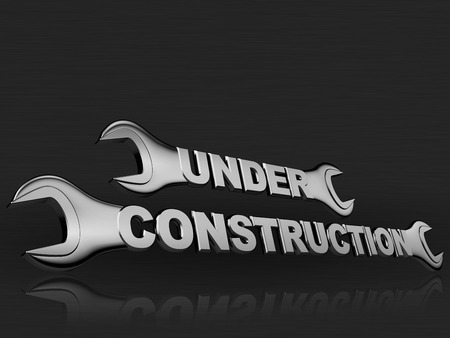 dark chrome: under construction word with a chrome wrench on dark background