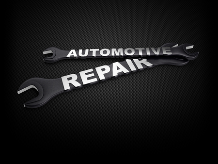 automotive industry: automotive repair word with a wrench on carbon background Stock Photo
