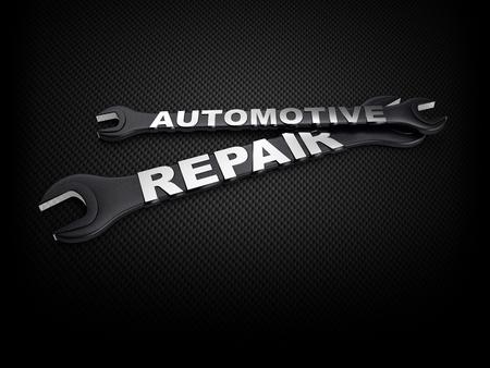 mecanico automotriz: palabra de reparación de automóviles con una llave en el fondo de carbono