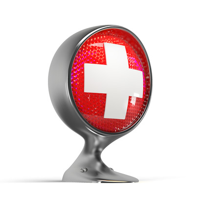 aid: illuminated first aid sign on a vintage headlight Stock Photo