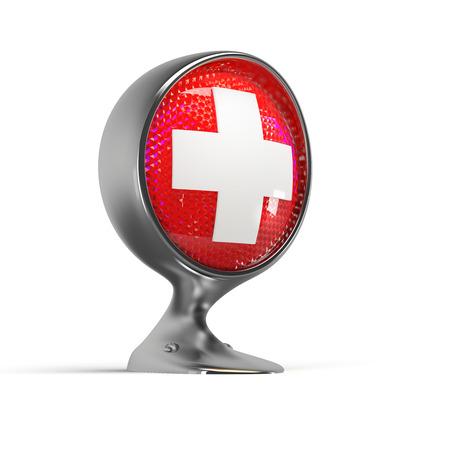 headlight: illuminated first aid sign on a vintage headlight Stock Photo
