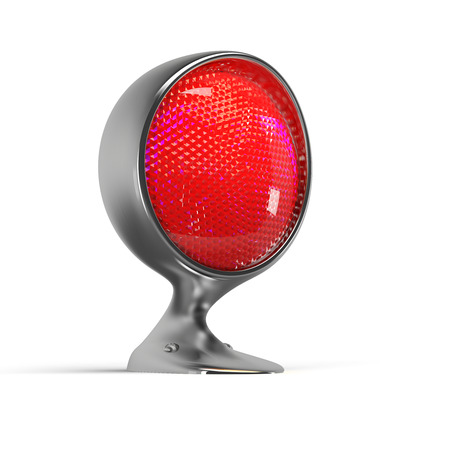 lightbar: illuminated red warning lamp on white background