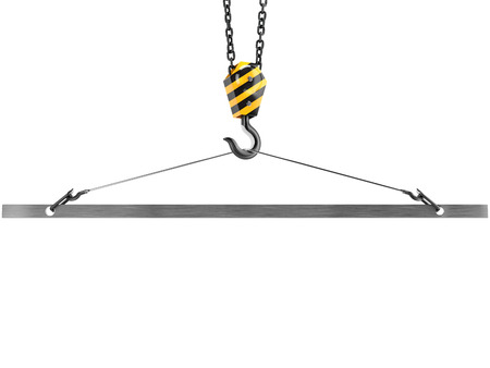 emptiness: Crane hook with emptiness in the clamp, isolated on white background. Stock Photo