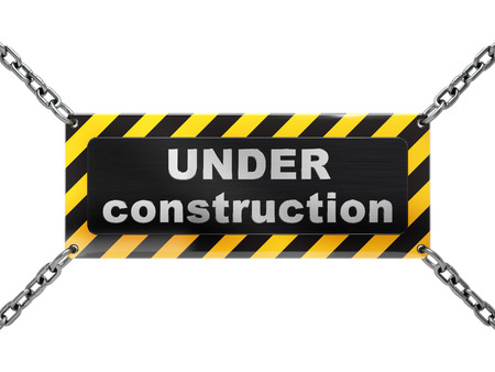 under construction sign on chain, isolated on white