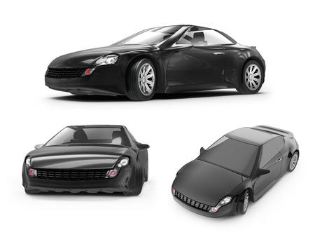 coupe: concept of a black sports car on white background, 3d rendered illustration