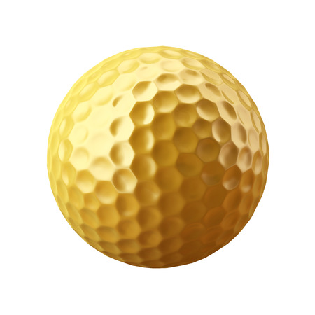first form: Golden golf ball, isolated on white background. Stock Photo