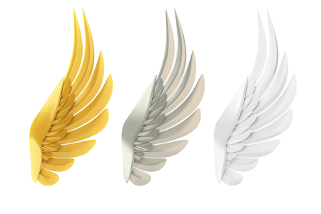 wings icon: Golden, silver and white wings, isolated on white background. Stock Photo