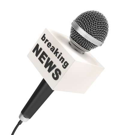 news microphone with blank box, isolated on a white background 스톡 콘텐츠