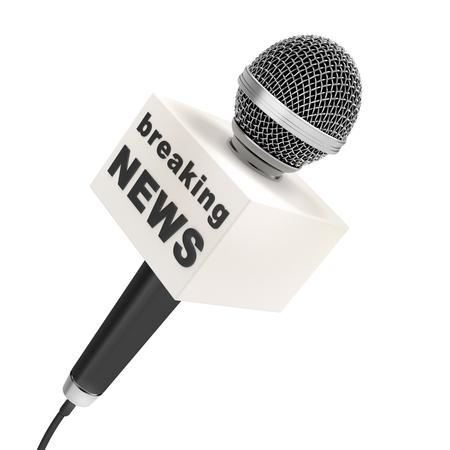 microfono de radio: micrófono de prensa con el cuadro en blanco, aislado en un fondo blanco Foto de archivo