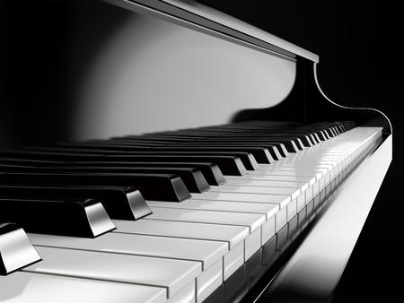 fortepian: klawisze fortepianu na czarnym fortepianie