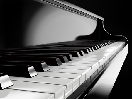 concert grand: piano keys on black piano Stock Photo