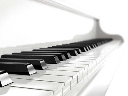 keyboard player: piano keys on white piano Stock Photo