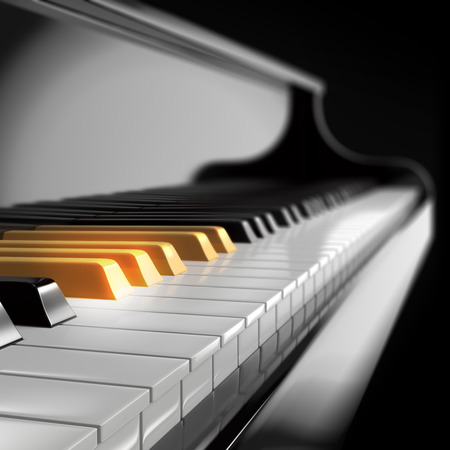 piano keyboard with golden keys