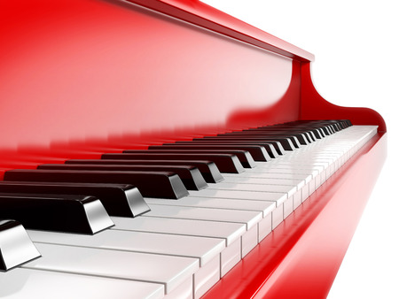 concert grand: piano keys on red piano Stock Photo