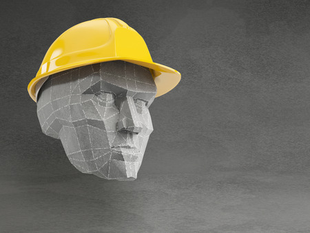 superintendent: Polygonal men head with yellow safety helmet on grey background Stock Photo