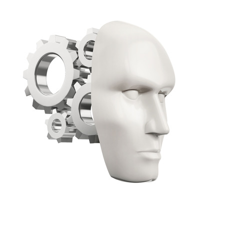 setup man: white human mask with steel gear wheels isolated on a white background