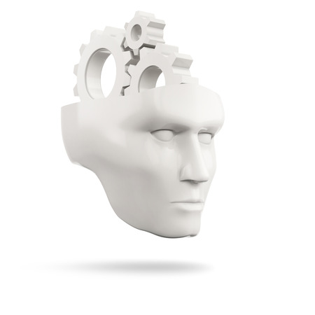 setup man: white human head with gears on a white background