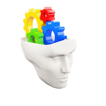setup man: white human head with colored gear wheels on a white background Stock Photo