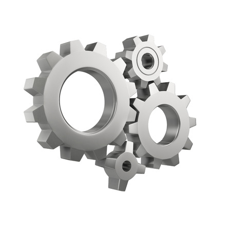 simple mechanical system with gear wheels isolated on a white background 스톡 콘텐츠