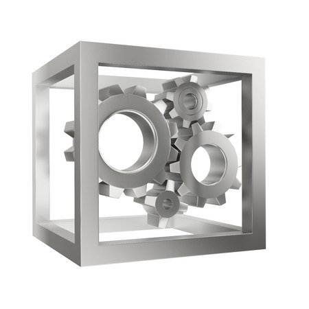 mechanical system with gear wheels in the steel cube; isolated on a black background Stock Photo