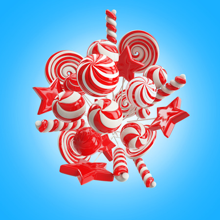 chewing gum: white-red lollipops on blue background Stock Photo